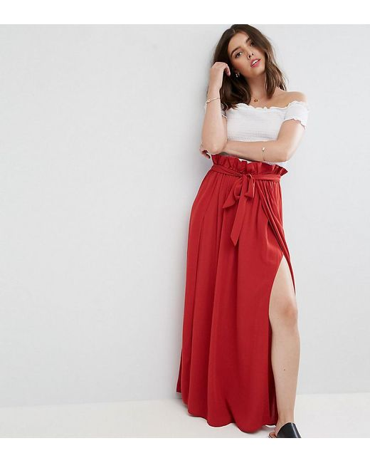 ASOS | Brown Maxi Skirt With Belt And Thigh Split | Lyst