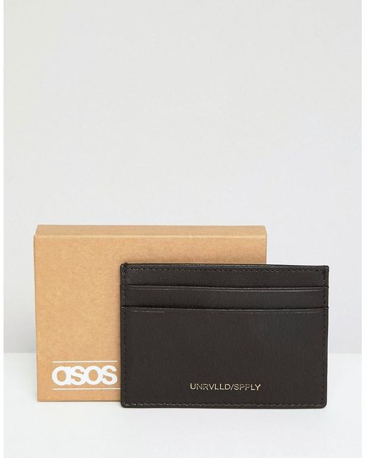 ASOS - Leather Card Holder In Brown With Foil Emboss for Men - Lyst