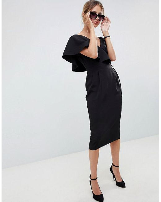 ASOS Black Ruffle Wrap Midi Dress
