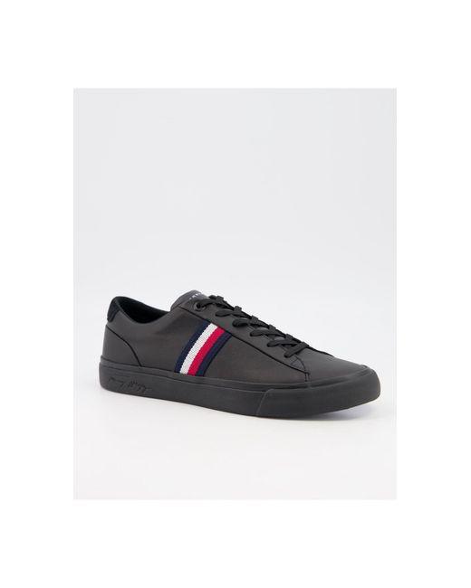 Черные Кожаные Кроссовки С Логотипом Сбоку -черный Цвет Tommy Hilfiger для него, цвет: Black