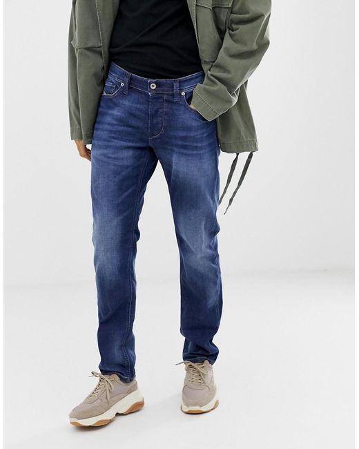 8e7bd3b7 ... DIESEL - Blue Larkee-beex Regular Tapered Fit Jeans In 084gr Mid Wash  for Men