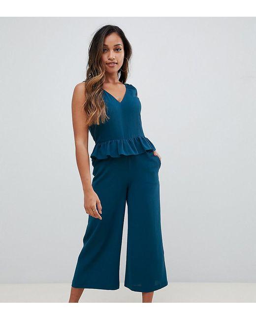 81206c0f3a2 ASOS - Green Asos Design Petite Frill Hem Cami Jumpsuit - Lyst ...