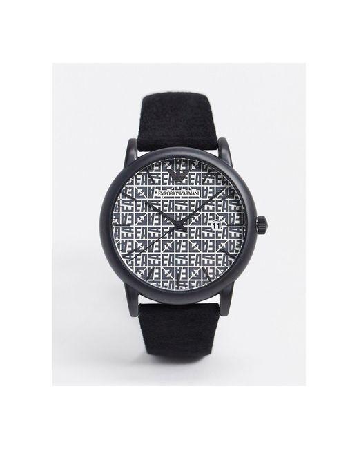 Черные Часы С Кожаным Ремешком Ar11274-черный Emporio Armani для него, цвет: Black