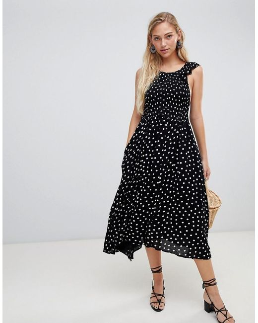 shopping best price new high Free People Chambray Butterflies Midi Dress in Black - Lyst