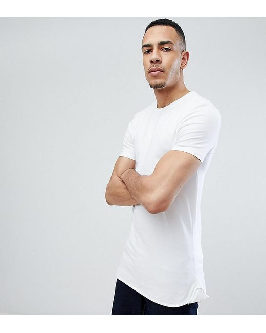 Cheap Excellent DESIGN muscle longline long sleeve t-shirt with curve hem in rib - White Asos Perfect TSL4STbUS