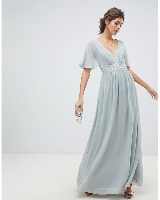 38a5f870b1 Little Mistress - Gray Waterlily Chiffon Angel Sleeve Maxi Dress - Lyst ...