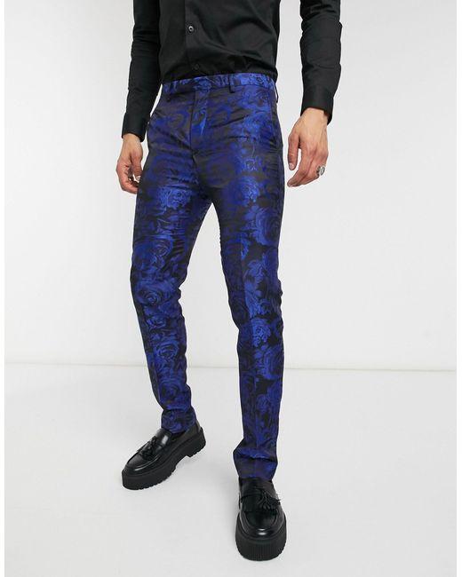 Темно-синие Брюки С Жаккардовым Цветочным Принтом -темно-синий Twisted Tailor для него, цвет: Blue