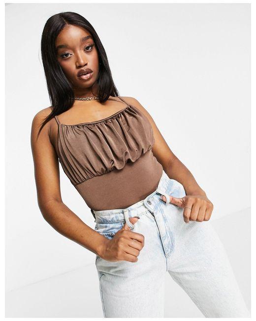 Бежевое Боди Со Сборками -коричневый Missguided, цвет: Brown