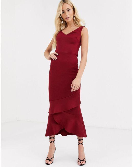 Платье Макси С Открытыми Плечами И Оборкой -красный True Violet, цвет: Red