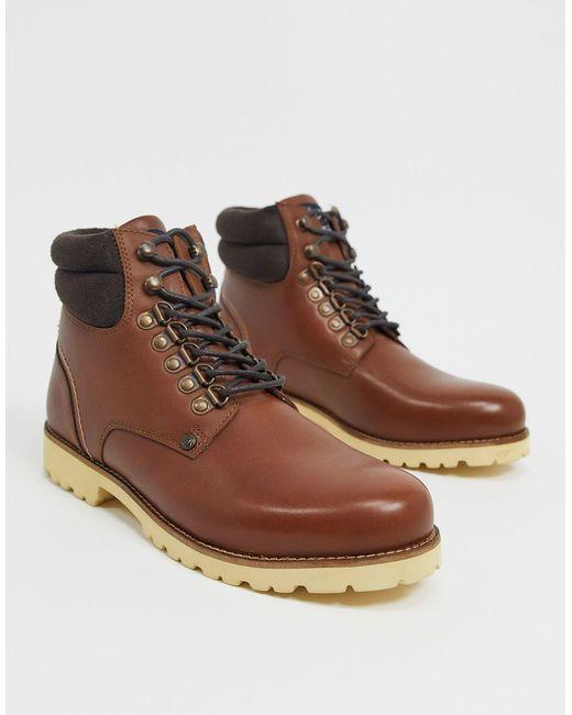 Коричневые Кожаные Походные Ботинки На Шнуровке С Мягким Кантом -коричневый Original Penguin для него, цвет: Brown