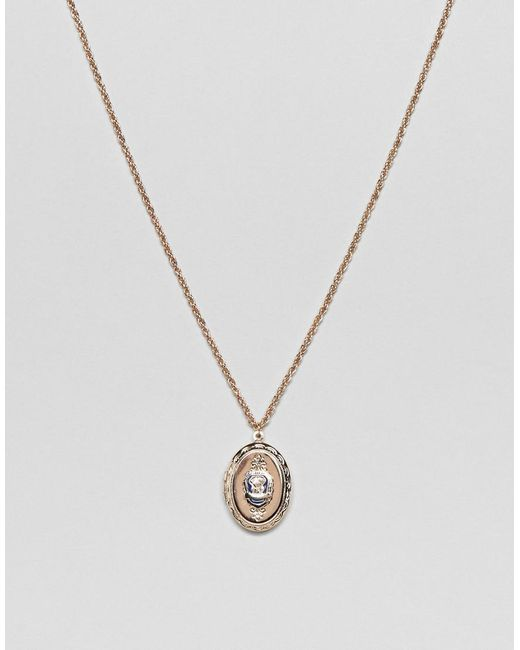 ASOS DESIGN - Metallic Vintage Style Necklace With Locket Pendant for Men - Lyst