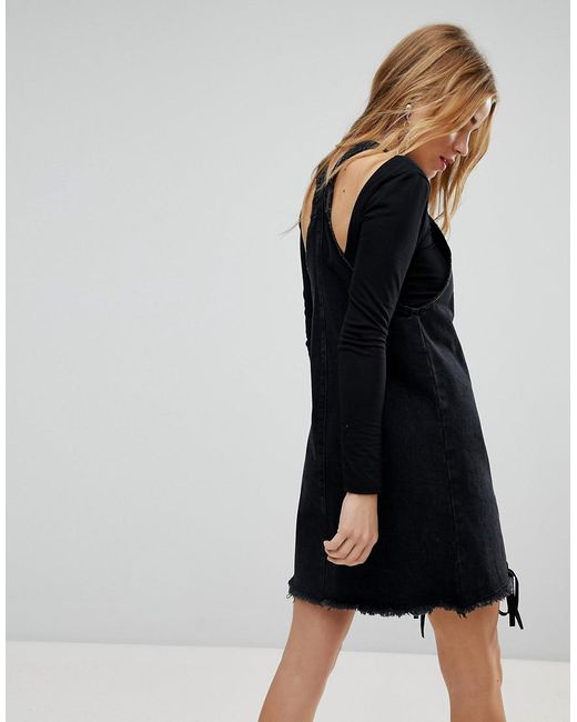 Lyst Urban Bliss Denim Pinafore Dress With Lace Up In Black
