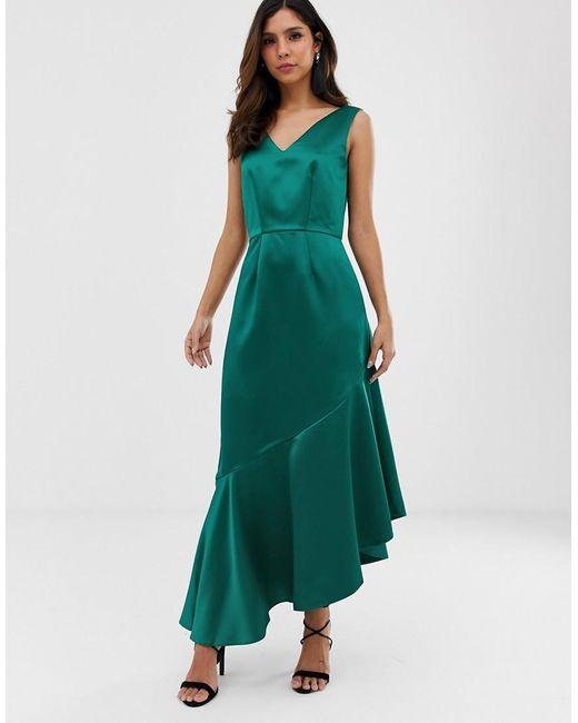 Vestido con volante asimétrico Closet de color Green