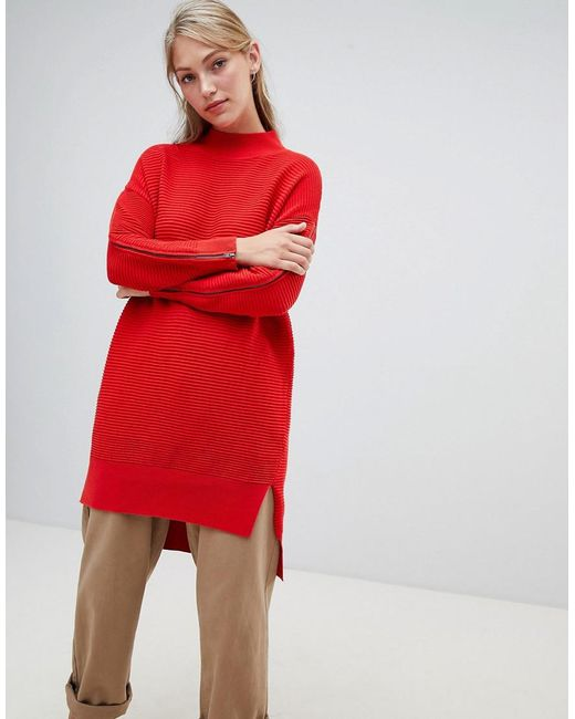 da3427338eb French Connection - Red Ottoman High Neck Longline Sweater With Zip Detail  - Lyst ...