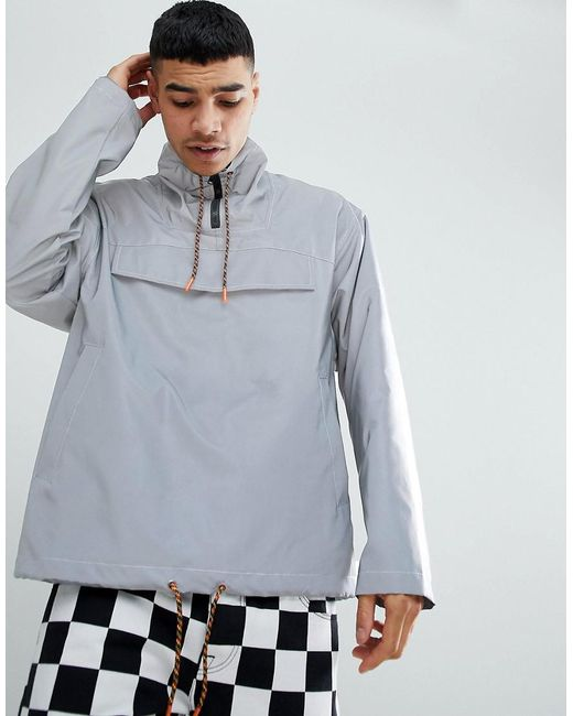 ASOS - Metallic Fesitval Windbreaker In Reflective Silver for Men - Lyst