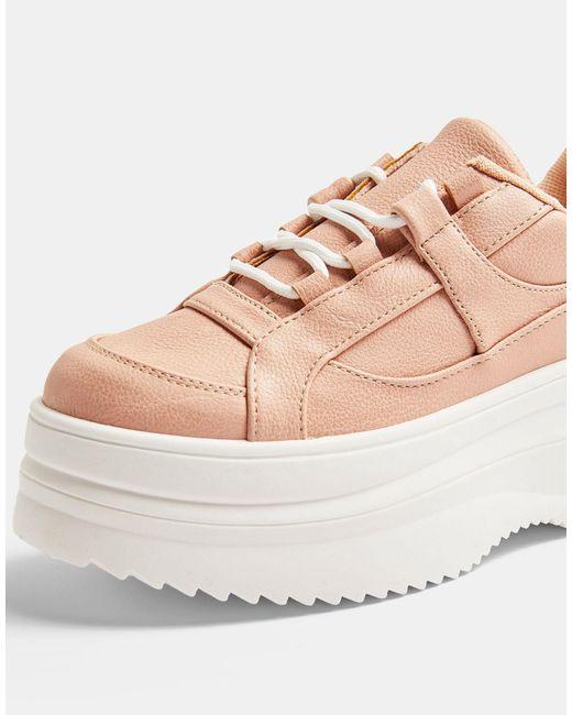 Нежно-розовые Кроссовки На Плоской Платформе Со Шнуровкой -розовый Цвет TOPSHOP, цвет: Pink