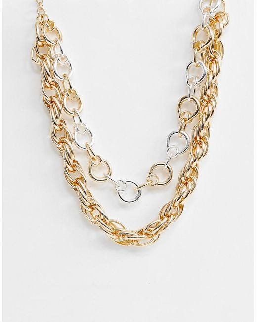 ASOS Metallic Multirow Necklace With Mixed Open Link Chains In Gold