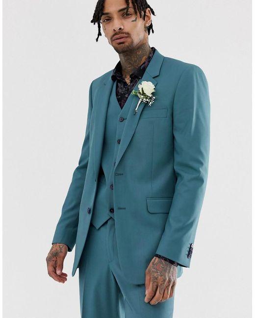 ASOS Smal Bruiloftscolbert In Middenblauw in het Blue voor heren