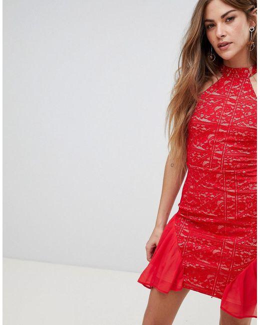 AX Paris - Red High Neck Lace Skater Dress - Lyst