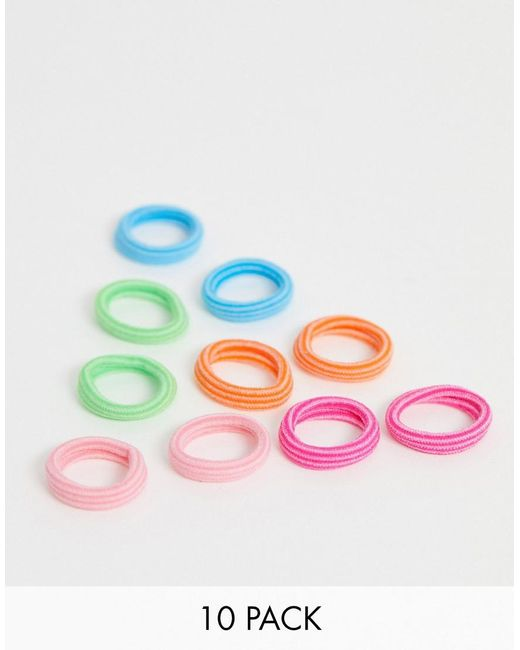 ASOS Pink Pack Of 10 Hair Ties In Mixed Colours