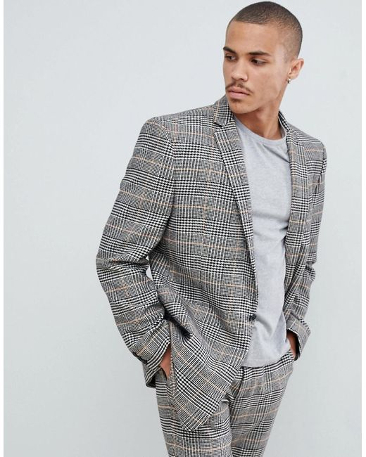 Oversized Suit Jacket In Black And White Check