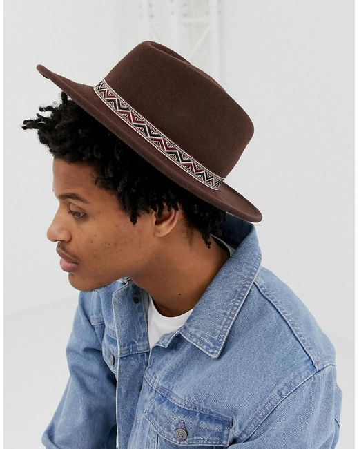 aca06b047d8 ASOS - Wide Brim Pork Pie Hat In Brown With Aztec Band for Men - Lyst ...