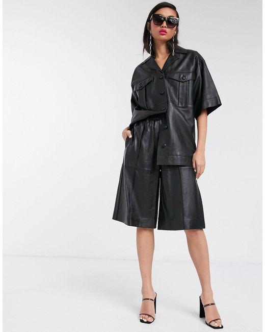 TOPSHOP Black Boutique Leather Shorts