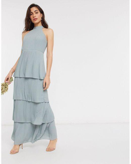 Шалфейно-зеленое Ярусное Платье Мидакси Bridesmaid-зеленый TFNC London, цвет: Multicolor