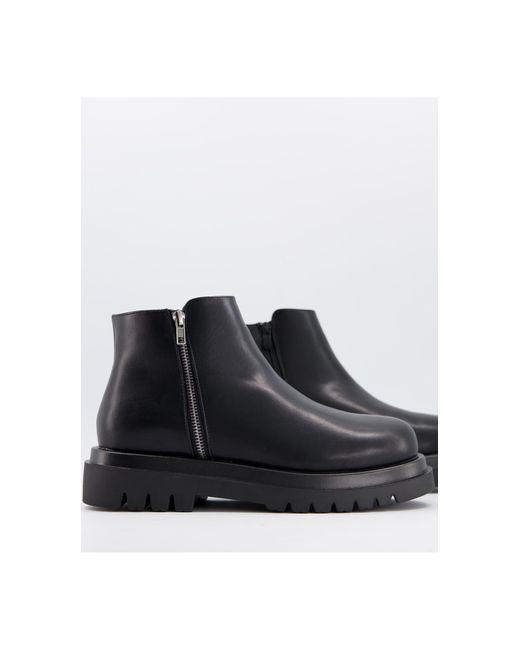 Черные Ботинки С Квадратным Носком, На Массивной Подошве И Шнуровке -черный Цвет Truffle Collection для него, цвет: Black