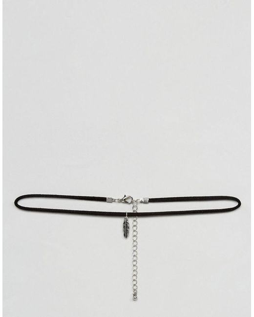 ASOS | Choker In Black Faux Suede With Burnished Feather for Men | Lyst
