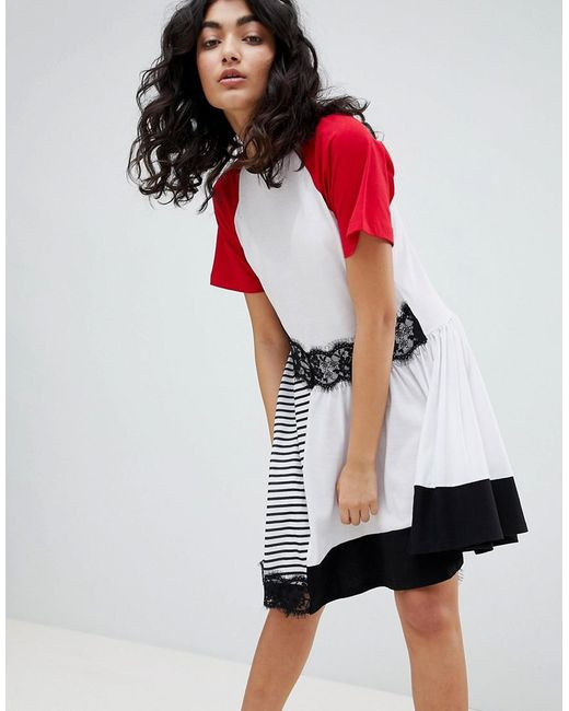 ASOS - Multicolor Mixed Fabric Stripe And Lace Insert Dress - Lyst