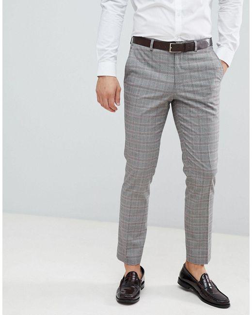 Pantaloni da abito nuziale a quadri rossi di Burton in Gray da Uomo