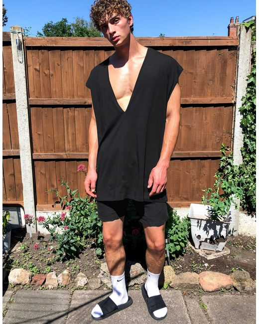 ASOS Black Oversized Singlet With Deep V Neck for men