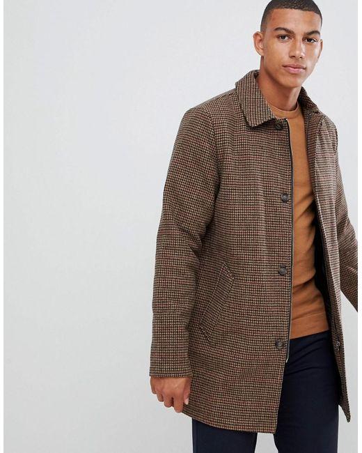 half off 7c978 58985 Herren Lang geschnittener, brauner Mantel aus Wollmischung mit  Hahnentrittmuster und Knopfleiste