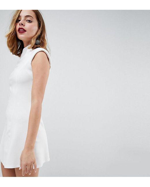 ASOS - White High Neck Seamed Shift Dress - Lyst