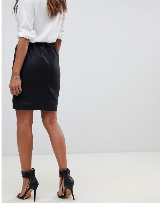 0a1e67142 ... Y.A.S - Black Ruched Detail Leather Mini Skirt - Lyst