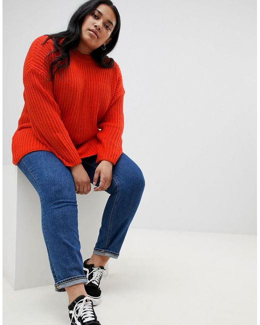 a30be39504 ... ASOS - Red Asos Design Curve Chunky Sweater In Rib With Crew Neck - Lyst