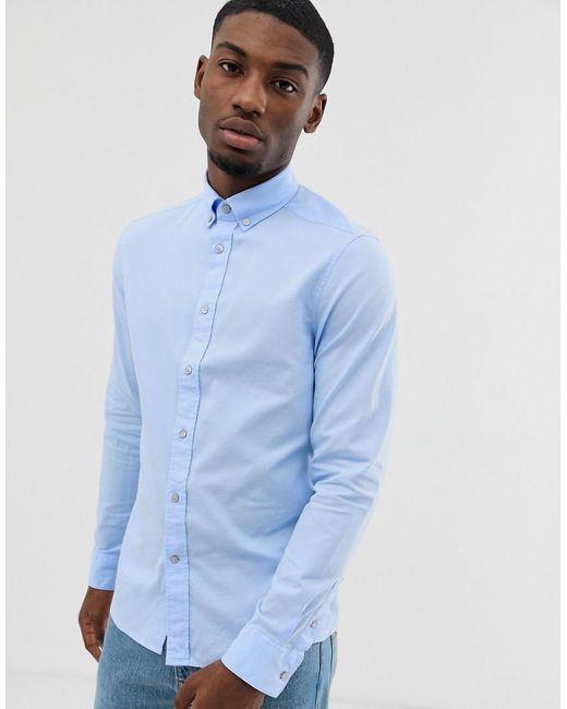 Camisa Oxford lavada con botones Calvin Klein de hombre de color Blue