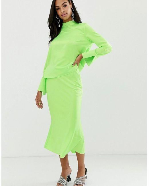 27b717f6c5c2bb Jupe mi-longue en satin fluo coupée en biais femme de coloris vert