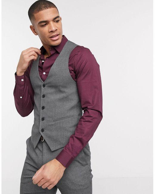 Темно-серый Зауженный Жилет New Look для него, цвет: Gray