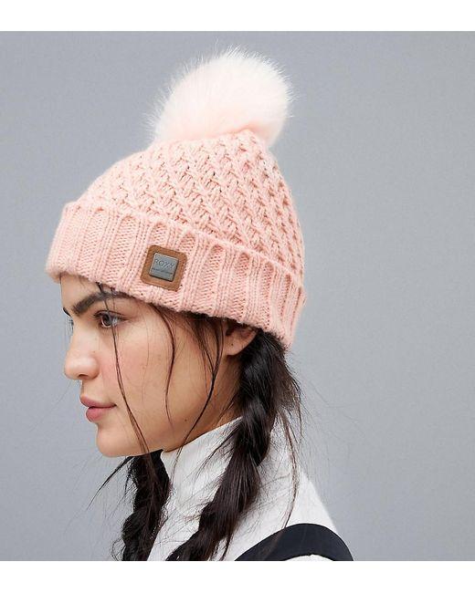 Lyst - Roxy Blizzard Beanie Hat In Pink in Pink f55424c3e82