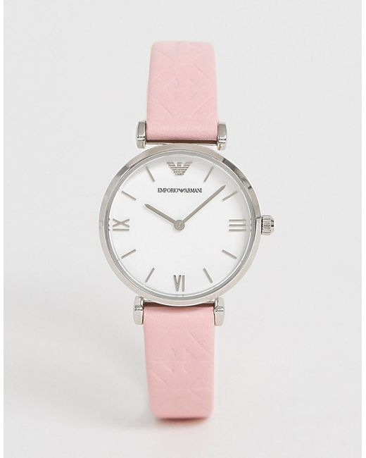 4db436e9 Men's Pink Ar11205 Gianni T-bar Leather Watch 32mm