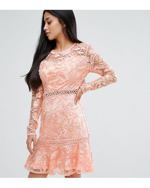 True Decadence - Pink Allover Premium Lace Skater Dress With Fluted Hem - Lyst