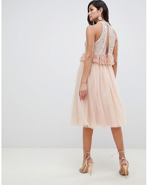 cf8933645277 ... ASOS - Natural Embellished Sequin Tulle Midi Dress With Faux Feather  Trim - Lyst