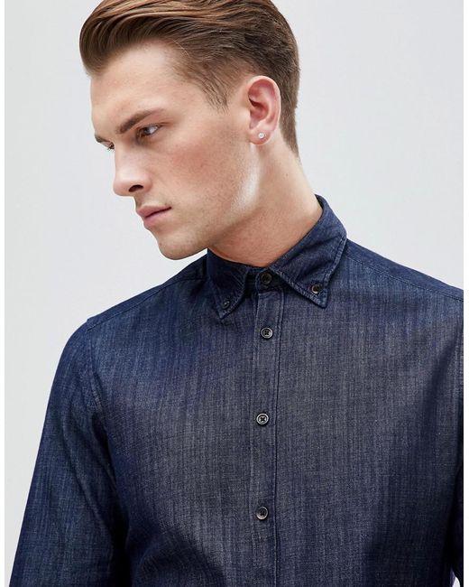ef1cd98e8c0 ... Esprit - Blue Slim Fit Denim Shirt for Men - Lyst ...