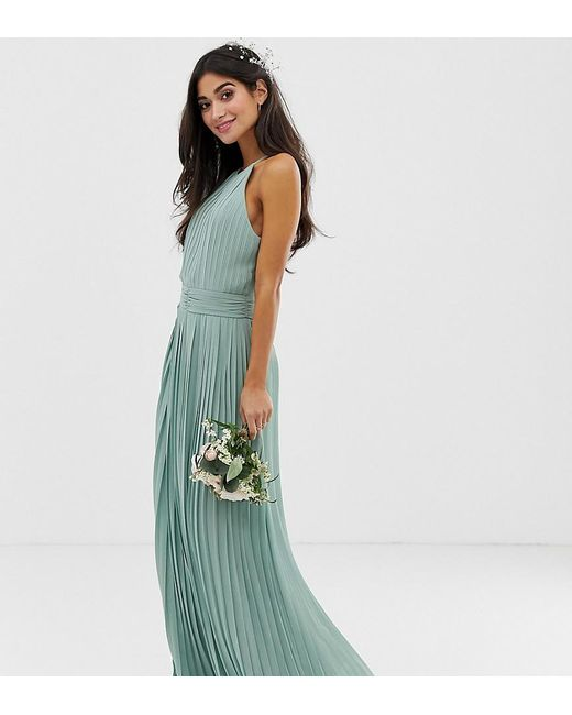 c8ece7f80d6e TFNC London - Green Bridesmaid Exclusive High Neck Pleated Maxi Dress In  Sage - Lyst ...