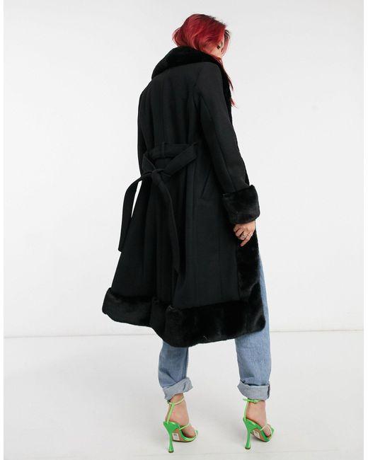 Длинное Черное Пальто Из Искусственного Меха -черный River Island, цвет: Black