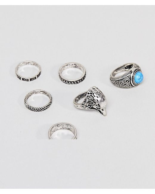 ASOS - Metallic Design Chunky Ring Pack With Eagle And Stones In Burnished Silver - Lyst