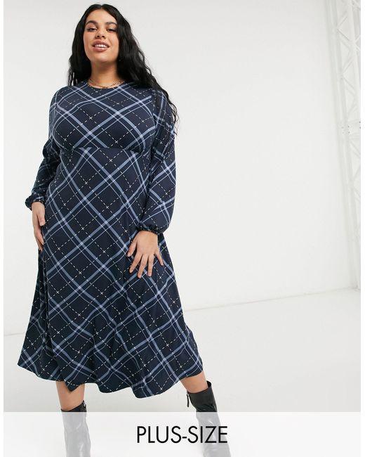 Платье Миди В Клетку -многоцветный Simply Be, цвет: Blue