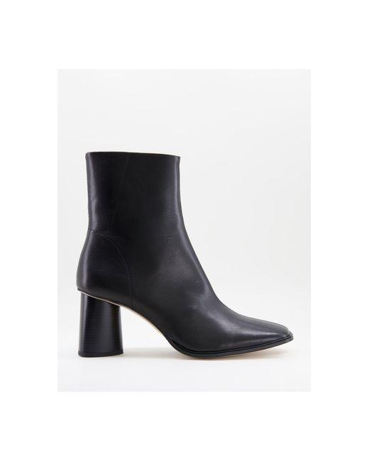 Черные Кожаные Ботинки Челси С Квадратным Носом И С Черной Подошвой ASOS для него, цвет: Black